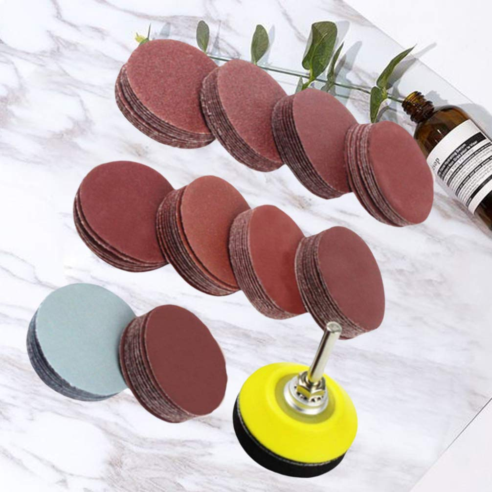 80-3000 Grit DOITOOL 100PCS 2 Inch Sanding Discs Pad Kit with 1//4 inch Shank Backing Pad Plate and Foam Buffering Pad for Drill Grinder