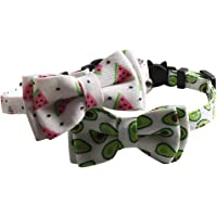 Hemobllo 2pcs Cat Collar Bowtie Breakaway with Bell Adjustable Fruit Watermelon Avocado Print Safety Buckle Collar for Kitten Cat