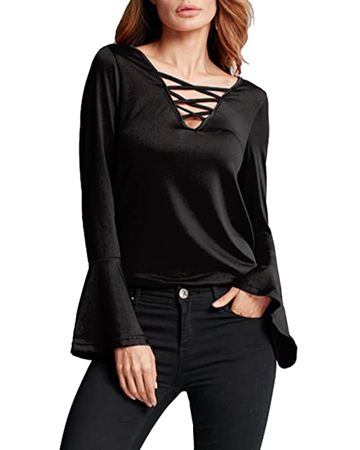 StyleDome Camiseta Mangas Largas Casual Elegante Oficina Playa Cuello V Tiras para Mujer Negro EU 46