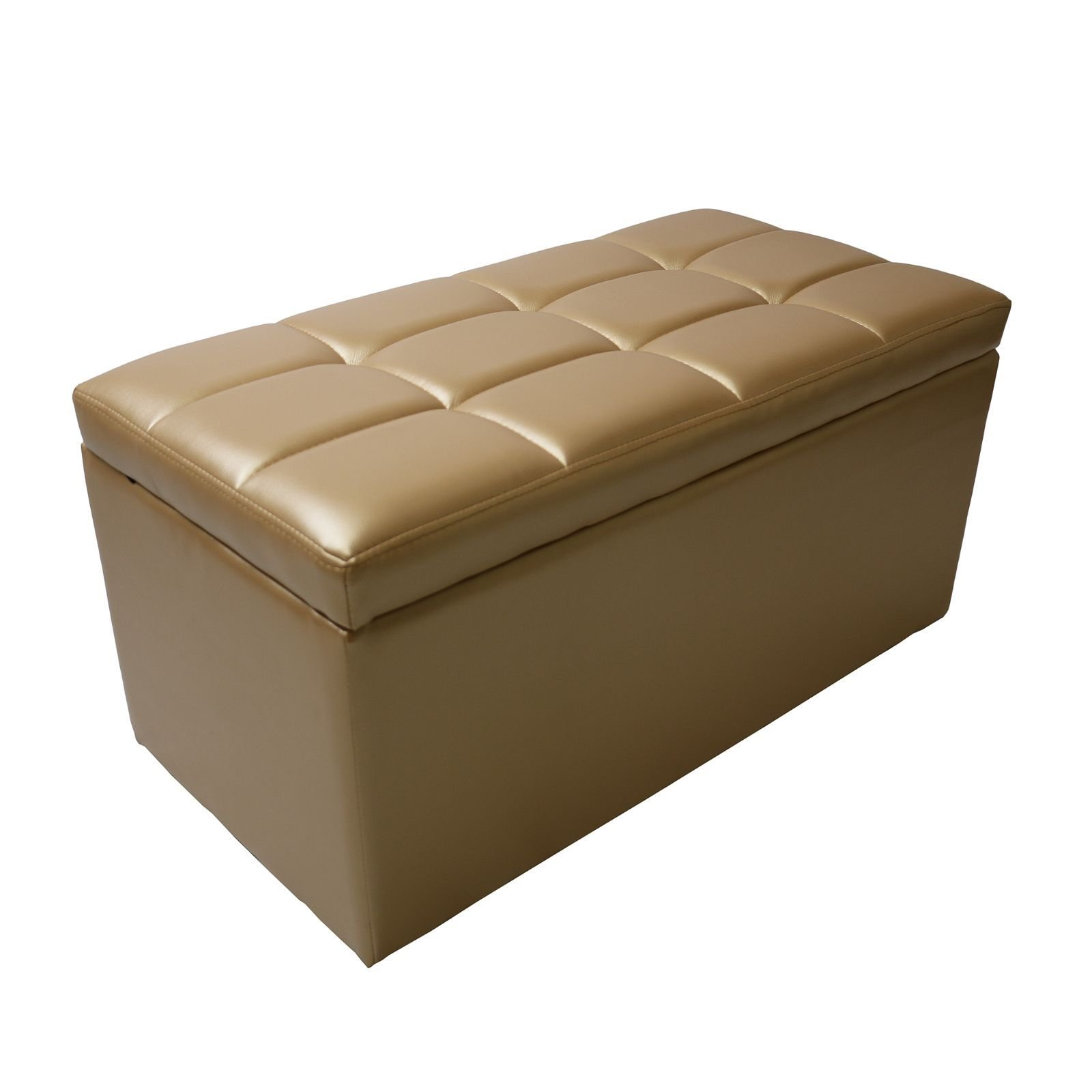 Magshion Rectangle Living Unfold Storage Ottoman Bench Footstools Seat End Coffee Table (Gold)