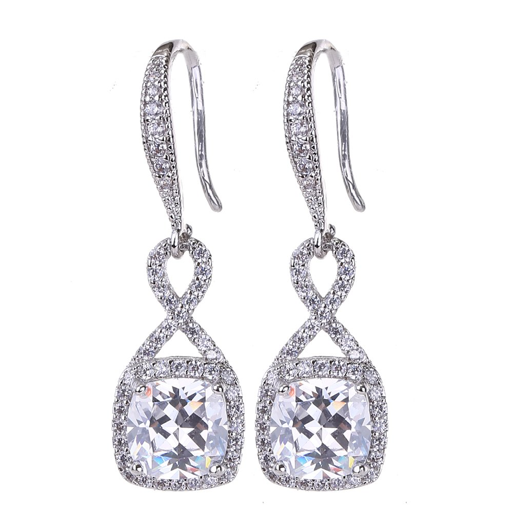 AMYJANE Crystal Jewelry Set for Women - Sterling Silver Square Cubic Zirconia CZ Bridal Pendant Necklace Earrings Set for Wedding Bride Bridesmaids Birthstone Infinity Jewelry Set by AMYJANE (Image #3)