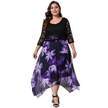 Vestido Largo Mujer Talla Grande O-Neck Moda Falda Floral ...