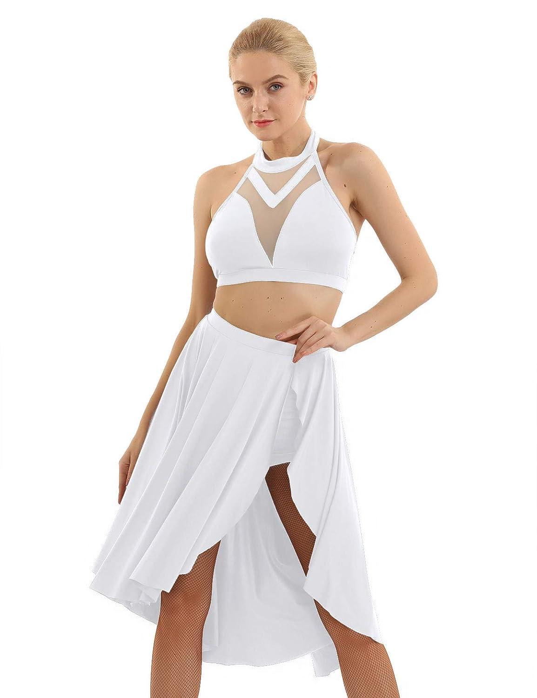 YiZYiF 2 PCS Vestito da Balletto Ragazza Donna Top+Gonna Leotard Body Ginnastica Collo Appeso Backless Bodysuit Dancewear Danza Ballo Latino Tutu Performance Allenamento