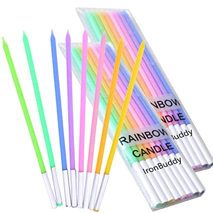 IronBuddy 24 Count Cake Candles Long Thin Metallic Birthday In Holders For Party