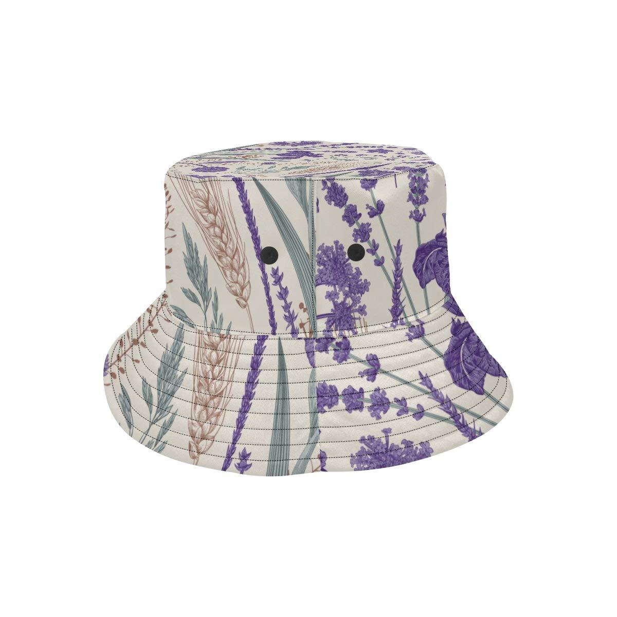 Aconite Purple Flower Summer Unisex Fishing Sun Top Bucket Hats for Kid Teens Women and Men with Packable Fisherman Cap for Outdoor Baseball Sport Picnic