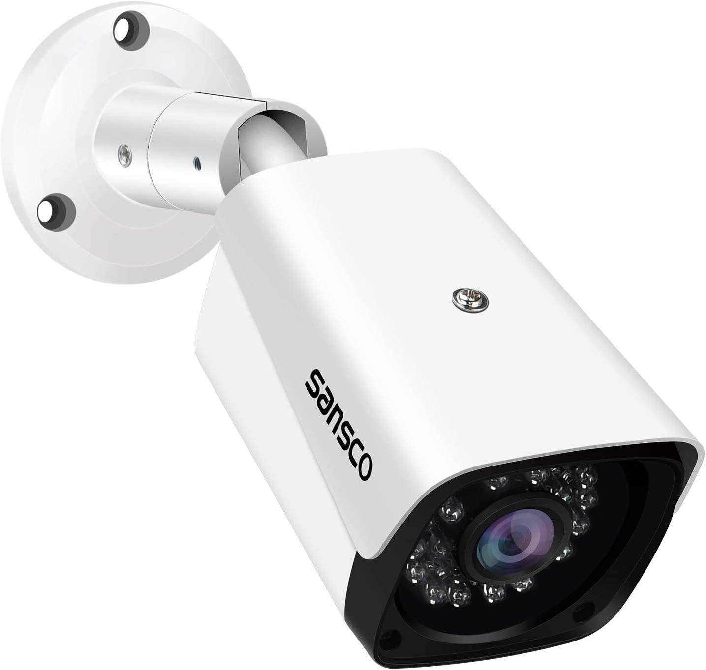 SANSCO 2MP HD 1080P Bullet Security Camera for CCTV Surveillance Camera System, IP66 Weatherproof for Outdoro Indoor Use, 24 LEDs, Night Vision, 3.6mm Lens Wide Angle, White