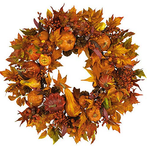 Mikash 28 Pumpkin Gourd Berry Artificial Silk Autumn Fall Harvest Wreath | Model WRTH - 775