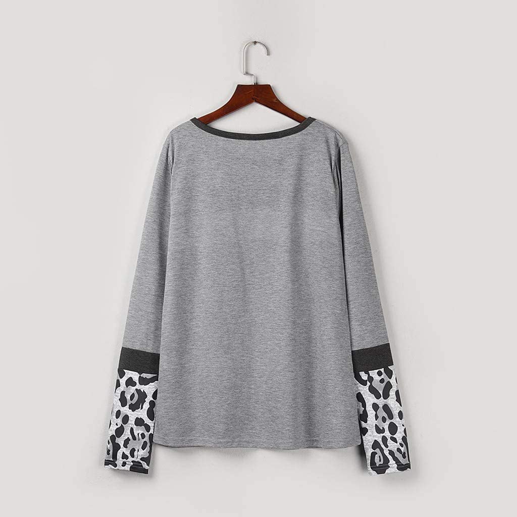Toraway Women Long Sleeve Leopard Crews Neck Shirts Casual Elegant Pullover Tops Women Coat Women Shirt Women Pullover