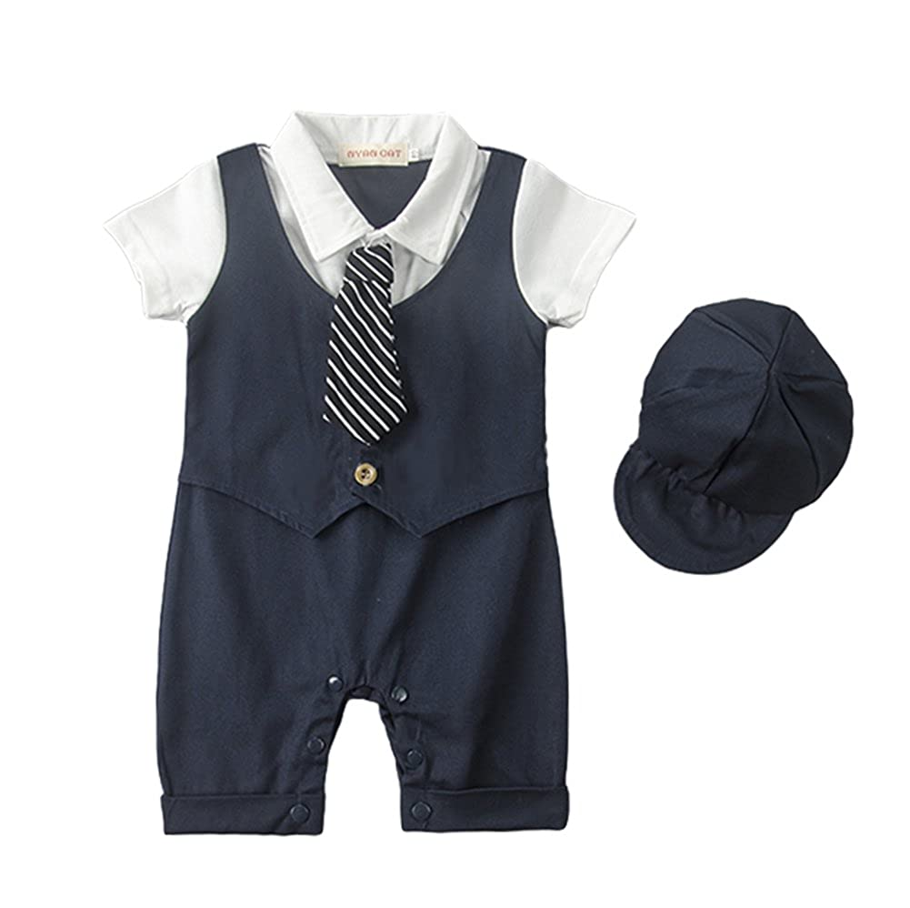 0de5c385ac15 Amazon.com  AvaCostume Baby Boys Romper Vest Bowtie Bodysuit  Clothing