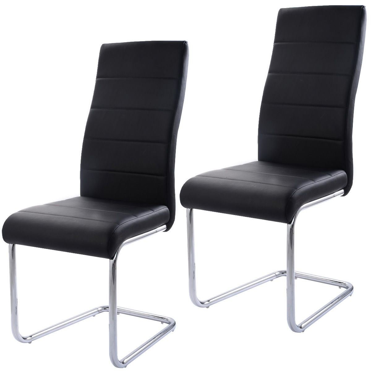 MasterPanel - Set of 2 PU Leather Dining Chairs Elegant Design High Back Home Furniture Black #TP3266 by MasterPanel