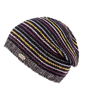 0dcf778e0dfa9f Kusan 100% Wool & Metallic Stripe Sloppy Beanie Hat PK1807 (Black): Amazon. co.uk: Clothing