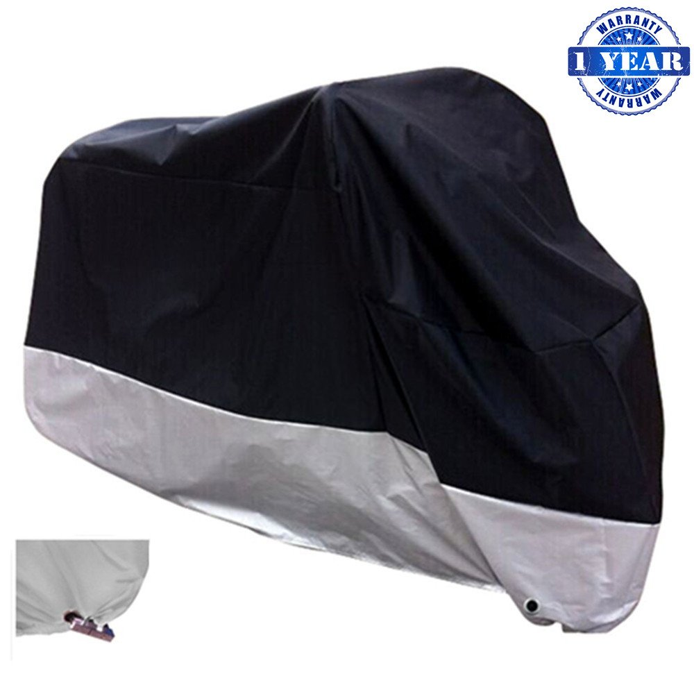 XYZCTEM All Season Black Waterproof Sun Motorcycle Cover,Fits up to 108'' Motors (XX Large & Lockholes) by XYZCTEM