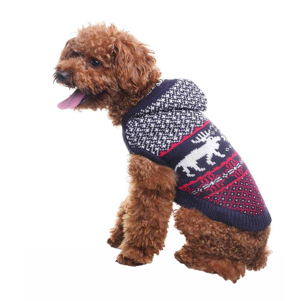 Black S Black S SCENEREAL Dog Sweater with Hat Christmas Winter Knitwear Hoodie Xmas Clothes Classic Warm Coats for Cold Days, Black S