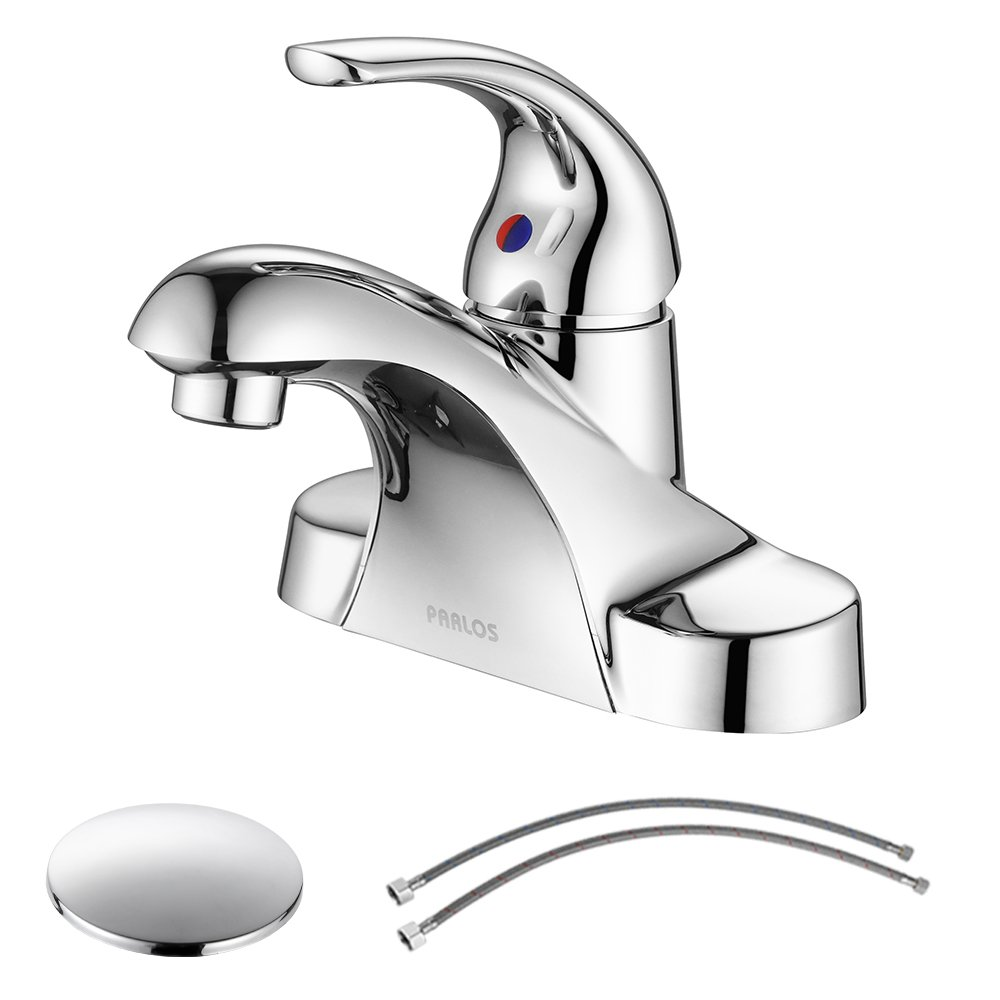 PARLOS Single Handle Centerset Bathroom Sink Faucet with Drain Assembly and cUPC Faucet Supply Lines, Lead-free, Chrome 13433