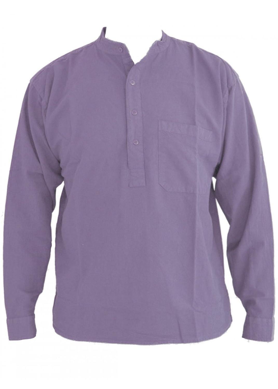 Violet Blue Grandad Collarless Shirt Cotton Sizes Small to 2XL