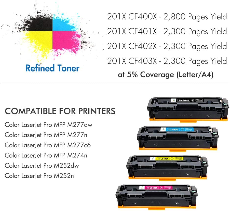 Aztech 4 Pack Kompatibel f/ür HP 201X Multipack 201A CF400A CF400X CF401X CF402X CF403X Toner f/ür HP Color Laserjet Pro MFP M277dw M277n M252dw HP M252n M252dw M277n M274n MFP M277c6 M277 M252 Toner