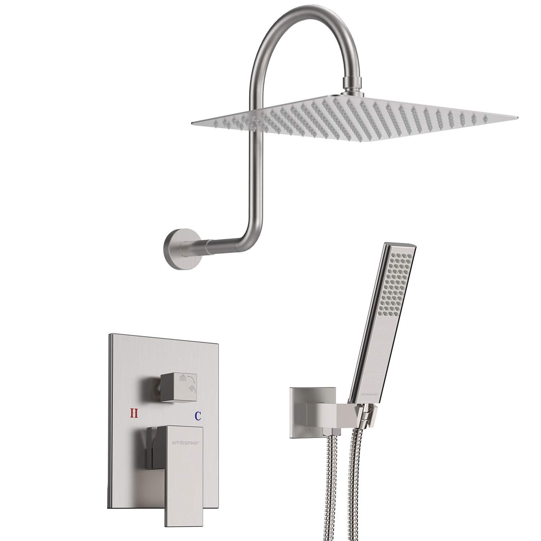 Embather High Arc Shower System Brushed Nickel Shower Faucet Set