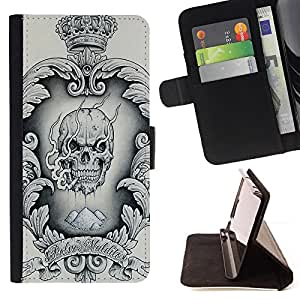 BullDog Case - FOR/Samsung Galaxy S5 Mini, SM-G800 / - / CROWN BLACK WHITE DRUGS SKULL SMOKE /- Monedero de cuero de la PU Llevar cubierta de la caja con el ID Credit Card Slots Flip funda de cuer