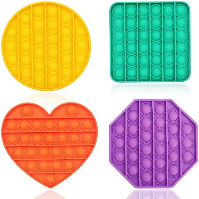 4 Pack Push Pop Pop Bubble Sensory Fidget Toy, Autism Special Needs Stress Reliever Silicone Stress Reliever Toy, Squeeze Sensory Toy for Kids and Adults (4 Colors & 4 Shapes)   Amazon
