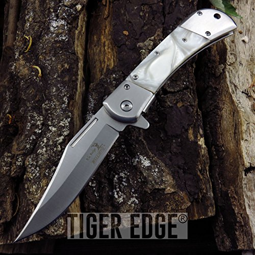 (NEW! Elk Ridge Classic Style Trapper Pearl Spring-Assist Hunter Folding ProTactical Limited Edition Elite Knife)