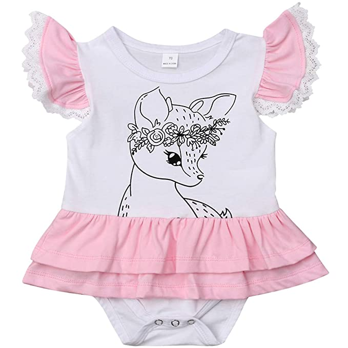 Amazon.com: Bebé niña floral ciervo Boho Romper caza ...