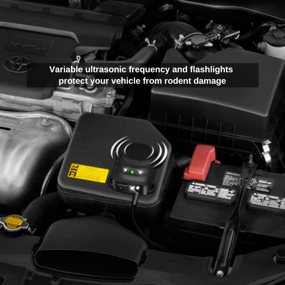Loraffe Under Hood Animal Repeller Ultrasonic Rodent Repellent LED Rodent Strobe Light Ultrasound Device Vehicle Protection for Automotive Lights to Keep Away Rats from Your Car Engine Garage