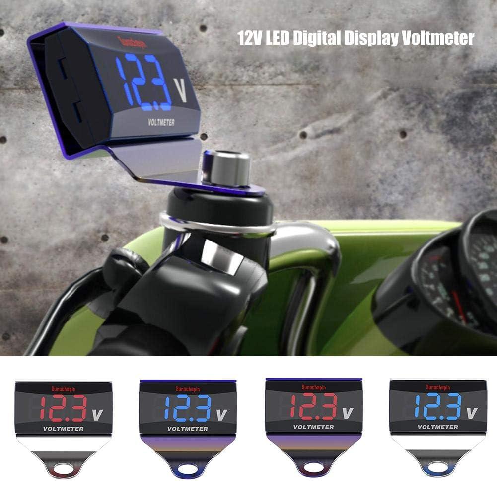ZSLGOGO Volt/ímetro del indicador Digital de 1pcs 12V LED con el Soporte para el Coche y la Motocicleta Mini voltimetro de Pantalla Digital
