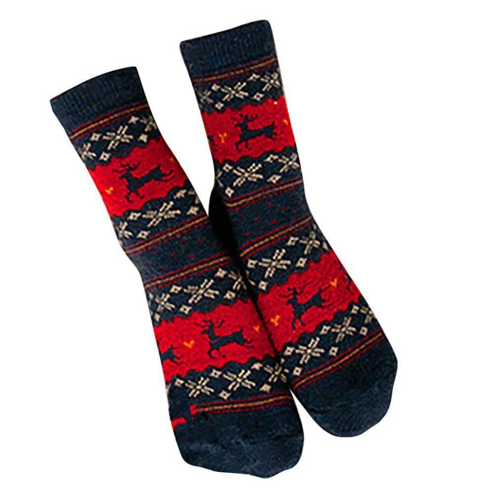 VJGOAL Mujeres Invierno Moda casual Ciervos navideños Diseño estampado Calcetines de lana de punto transpirables cálidos(Un tamaño, Azul): Amazon.es: Ropa y ...
