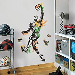 10 Piece Kids Green Black Orange Basketball Wall Decals Set, Sports Themed Wall Stickers Peel Stick, Slam Dunk Hoops Ball Player Champion NBA Dribble Decorative Mural Art, Vinyl
