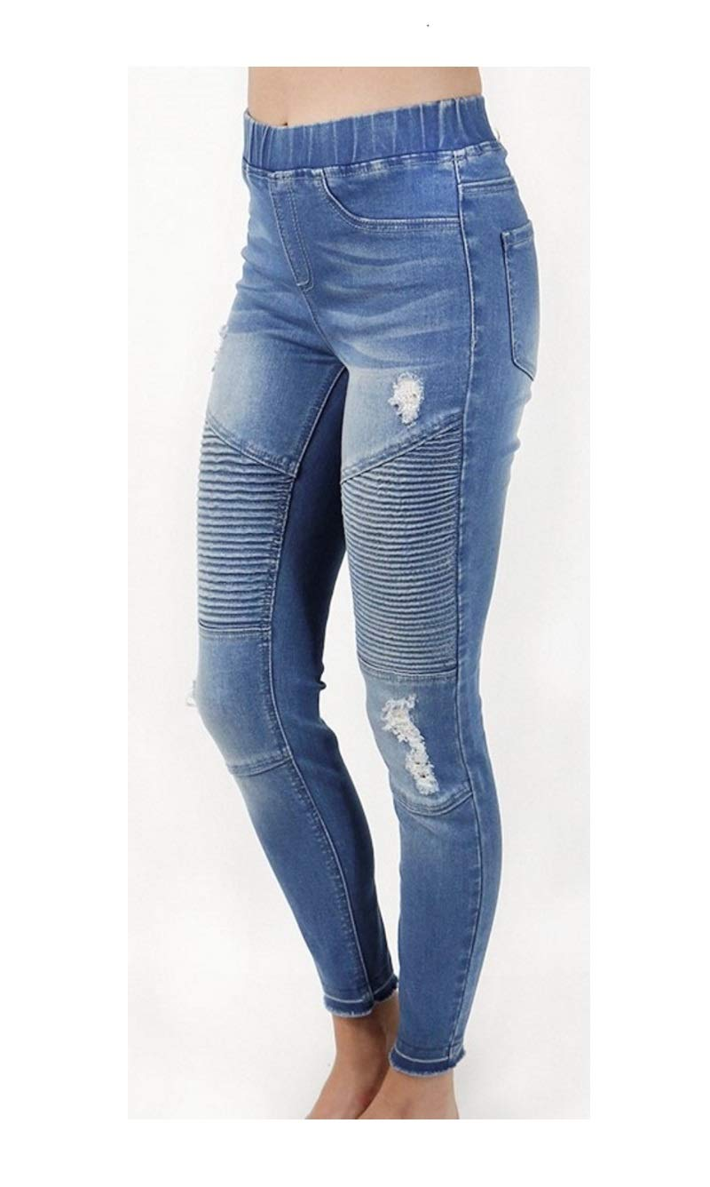 Grace and Lace Women's Stretchy Pleated Mid-Rise Pull On Moto Denim Jeggings, Distressed Blue XL