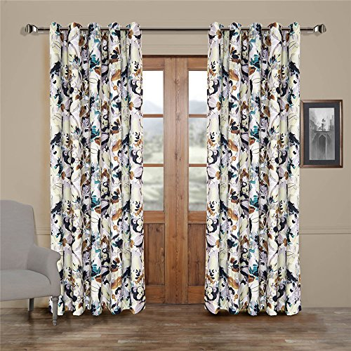 (Set of 2 panels) 25 Sizes Available 2(42″W x 63″L) Double Pleated Top Contemporary Print Artistic Oil Painting Style Abstract Floral Blackout Lining Window Treatment Draperies & Curtains Panels For Sale