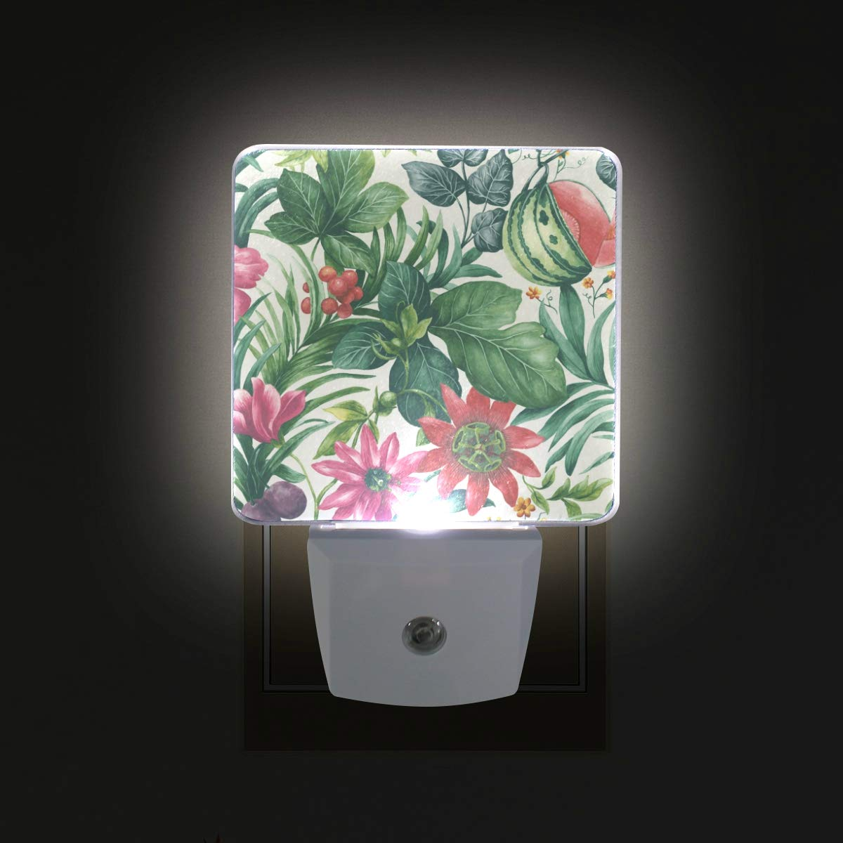 Brighter Tropical Leaves LED Sensor Night Light for Kids&Adults Bedroom Dusk to Dawn Night Lights Lamp Perfect for Hallway,Dining Room