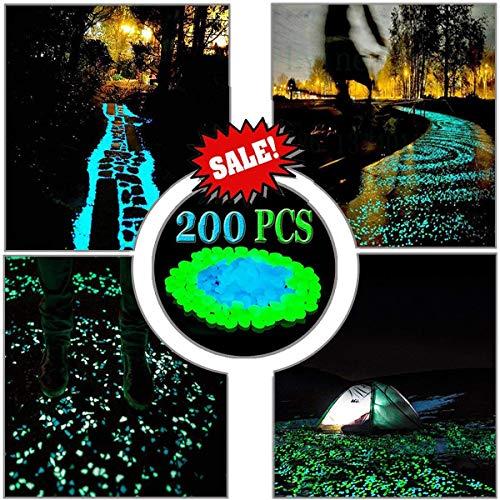 - LLOP 200Pack Glow in the Dark Garden Pebbles for Walkways Outdoor Decor Aquarium Fish Tank Path Lawn Yard, Glow Stone Rocks Outdoor Garden Decorative Stones in Blue & Green