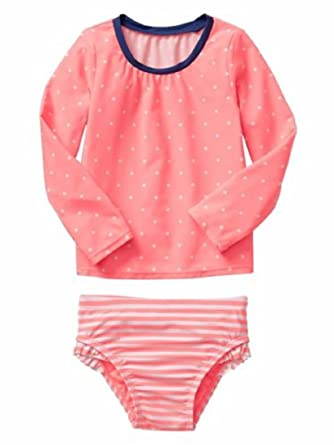 ca4280d46 Amazon.com: BabyGap baby Gap Toddler Girls Coral Dot & Stripes Rash ...