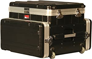 Gator Cases Lightweight ATA Molded Mobile Studio Case with Wheels and Pull Handle; Fits Laptops or Mixer over 4U Audio Rack (GRC-STUDIO4GO-W)
