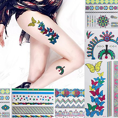 - Bluezoo (Pack of 9) Flash Colorful Metallic Temporary Tattoos Stickers,Water Transfer Henna Tattoos Kit,Many Designs in Collection for Girls,Butterfly,Necklace,Bracelets for Body,Arms,Neck,Legs