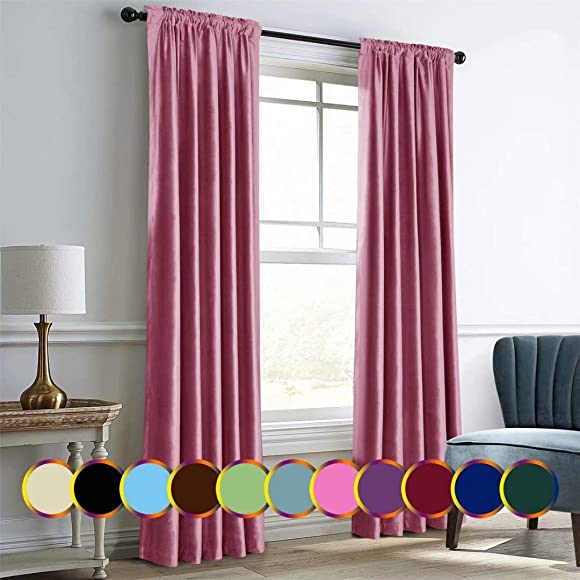 Mitlatem Pink Velvet Curtains Sliding Door Blackout Drapes 96 Inch Long Interior High Shading Drapes Pink, 72 W x 96 L