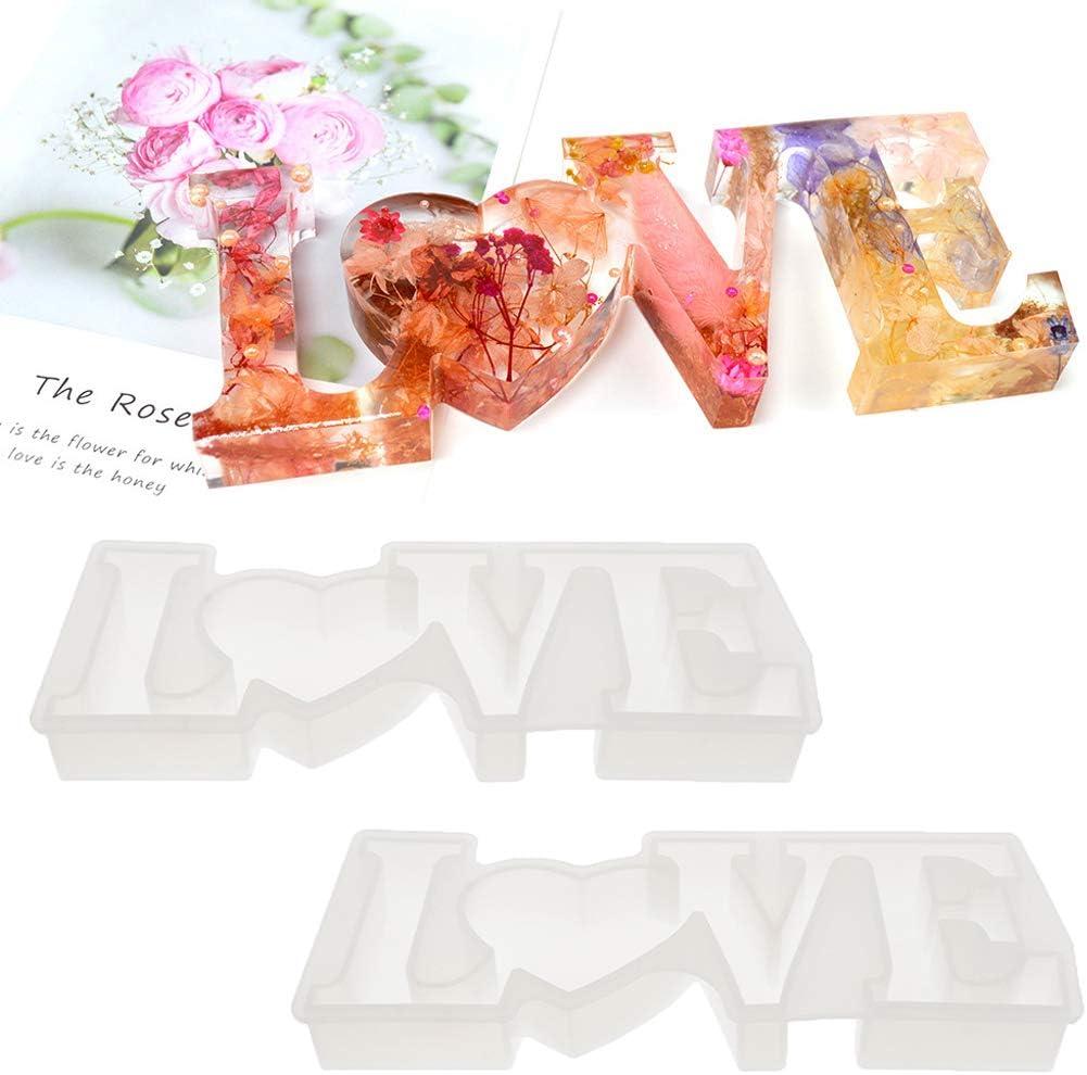 freneci 2pcs Love Letter Mould Resin Casting Art Mold Fondant Soap Making Craft