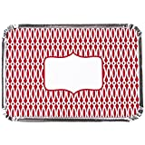 Simply Baked Medium Baking and Take-out Pan, 8.5x6-Inch/36 Ounce Capacity, Scarlet Trellis, 6-Pack, Disposable, Oven & Freezer Safe Foil Pan with Paper Lid