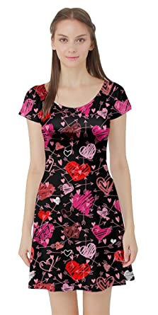 Cowcow Womens Cute Pink Valentine Day Love Heart Pattern Short