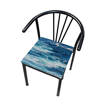 """Bardic HNTGHX Outdoor/Indoor Chair Cushion Ocean Tropical Water Square Memory Foam Seat Pads Cushion for Patio Dining, 16"""" x 16"""": Home & Kitchen"""