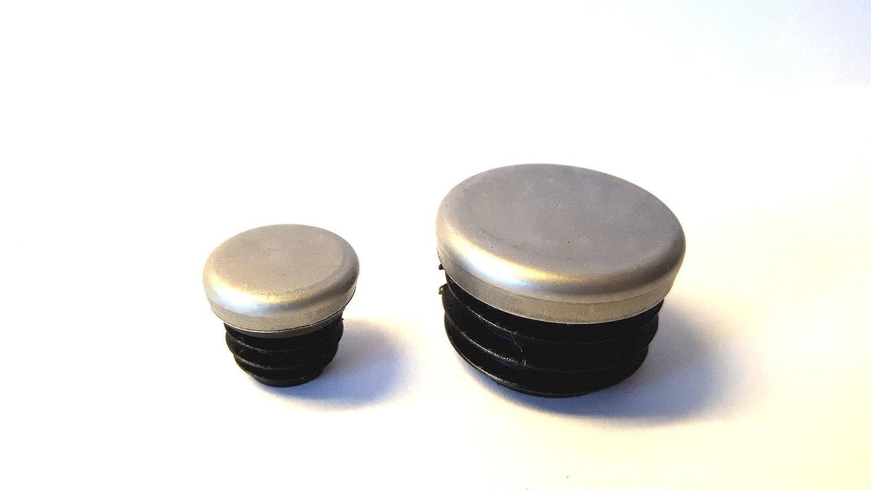 4 patins//bouchons avec capuchon en m/étal inoxydable pour tubes ronds dune /épaisseur de paroi de 1,5-2 mm