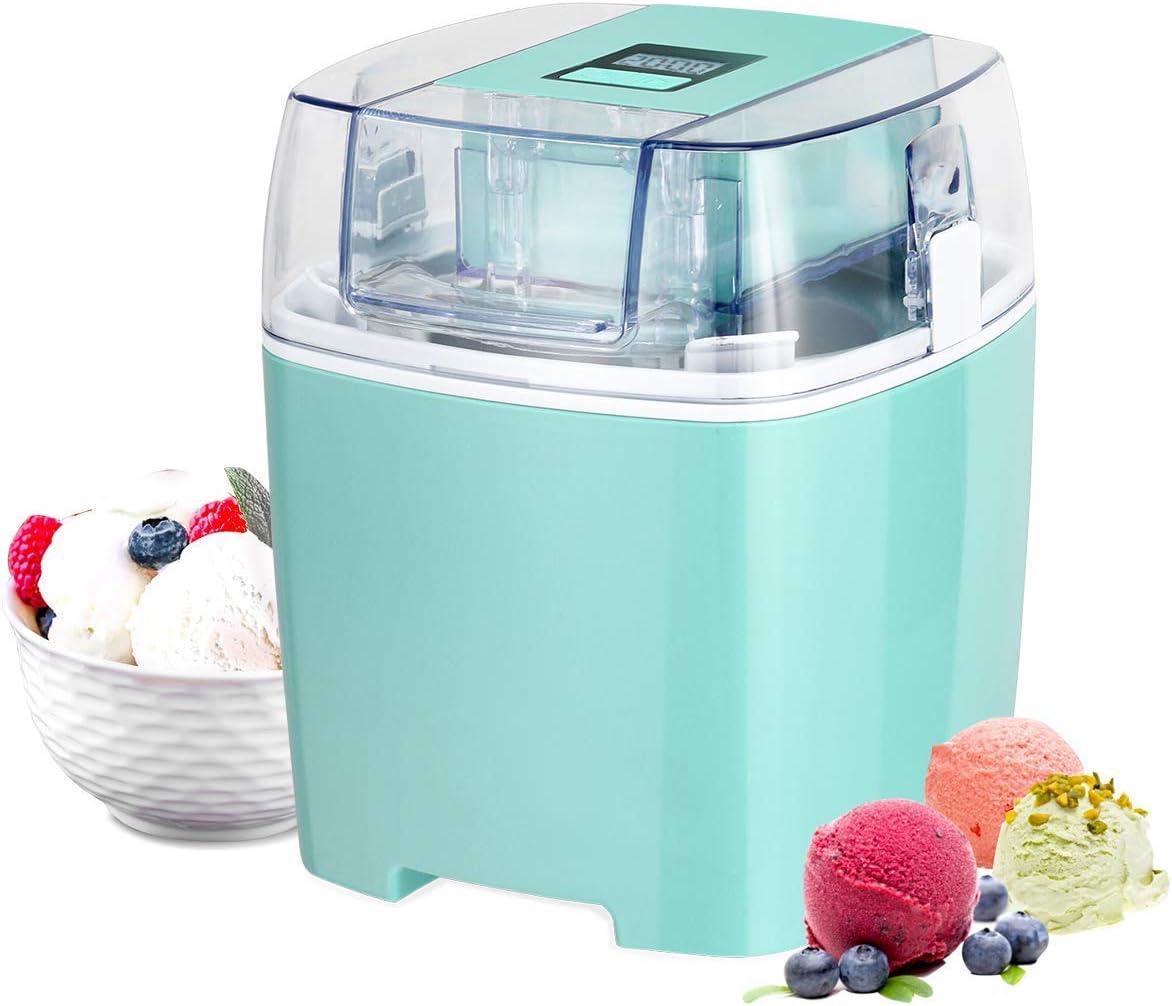 Costway Ice Cream Maker 1.6 Quart Automatic Macarons Color Ice Cream Machine, custard Frozen Yogurt Sorbet Gelato Machine with Auto Shut Off Timer, LCD Display and Mixing Paddle for Soft Serve Dessert (Green)
