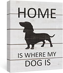 SUMGAR Quotes Wall Decor Canvas Painting Wall Art Black and White Artwork for Dining Room Black Dachshund,12x16in
