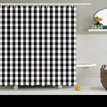 Shower Curtains Black White Buffalo Gingham Pattern Slight Check Plaid 72Wx72L Inches Home Decorative Waterproof Polyester