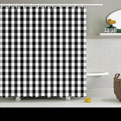 Amazon.com: Shower Curtains Black White Buffalo Gingham Pattern ...
