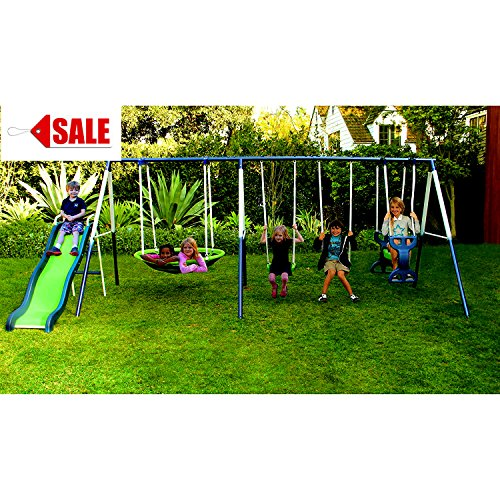 - Metal Swing Set With Slide For Backyard Outdoor Kids Fun Play Backyard Durable Construction Park For Physical Activity And Exercise - Skroutz