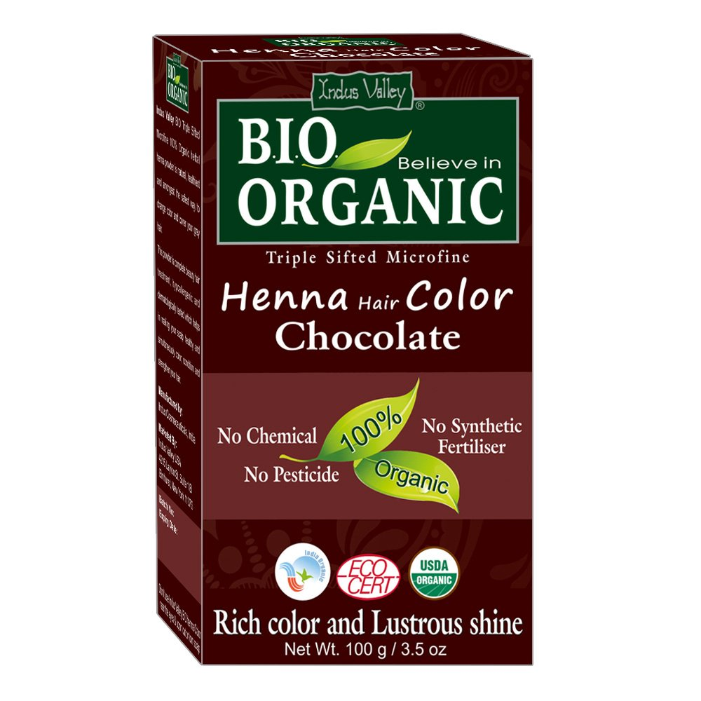 Indus Valley BIO Organic Natural Chocolate Henna Hair Color For Grey Hair Color-100gm Indus Cosmeceuticals