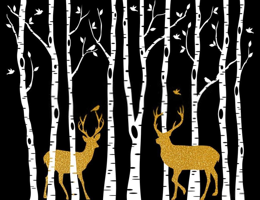 5D DIY Diamond Painting Kits Birch Tree Trees with Gold Christmas Deer 12