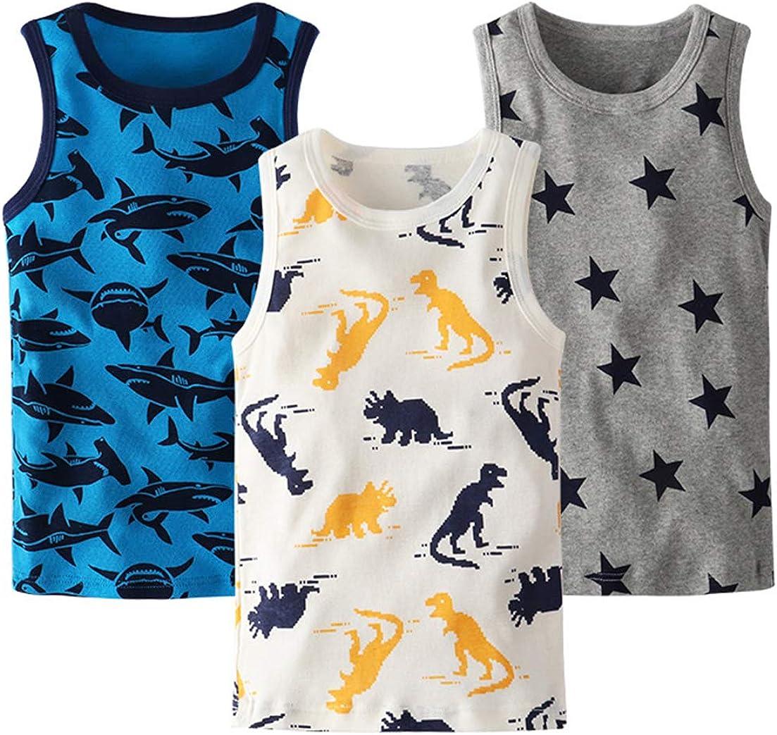 La vogue Toddler Boys Girls 3-Pack Cotton Tank Tops Cute Cartoon Print Vest Tops Sleeveless T-Shirt